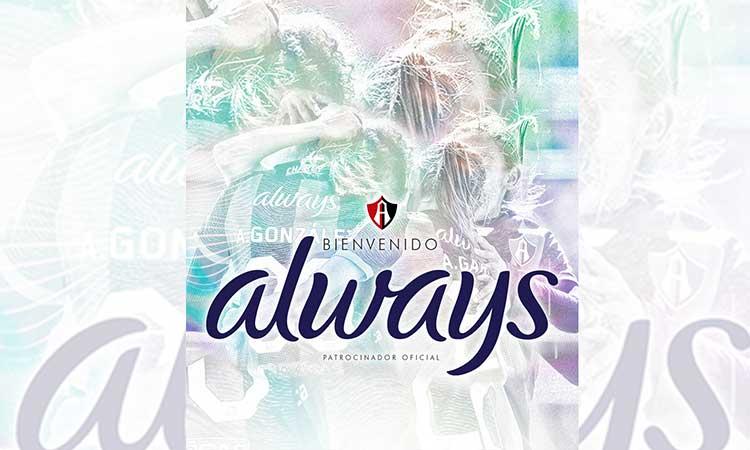 Always, patrocinador oficial del Atlas Femenil